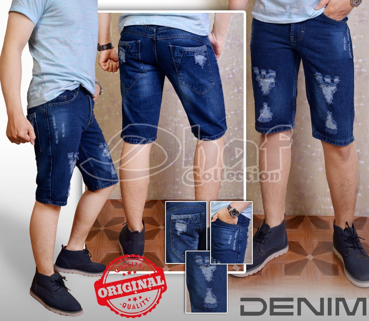 Celana pendek pria (SOBEK)bahan denim tebal bahan bagus jahitan rapih 84e550b235