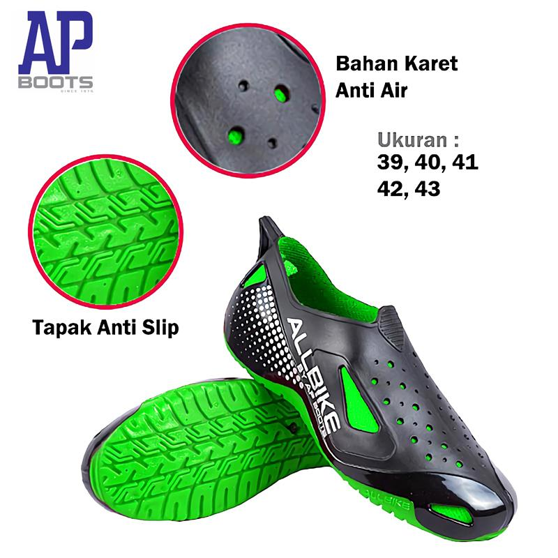 All Bike Sepatu Slop [ukuran 39-43] Outdoor Shoes Sepeda Motor Ap Boots Biker Hiking Tahan Anti Air Hujan Slip Selop Waterproof Re By Otomobil.