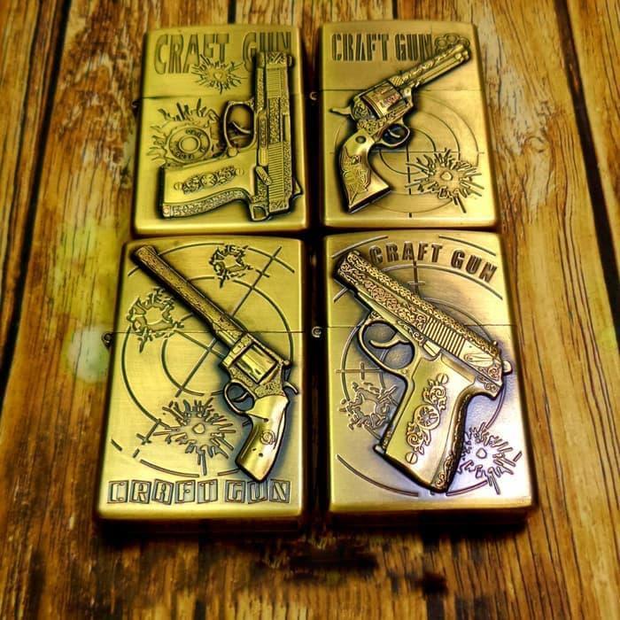 Zippo Korek Api Minyak Kantai Model Zippo Motif Baretta Craft Gun - Gold RANDOM