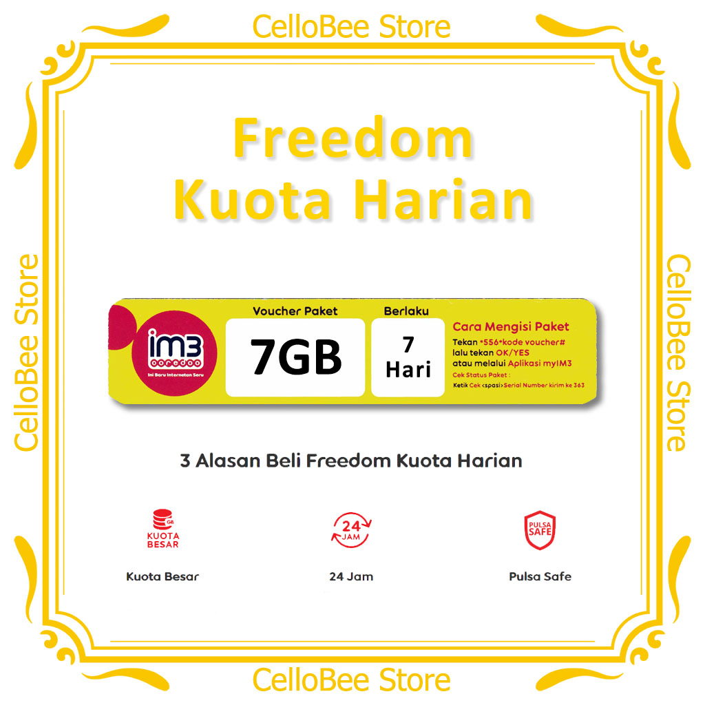 Im3 Ooredoo Voucher Data Freedom Kuota Harian 7gb Masa Aktif 7 Hari Indosat Lazada Indonesia