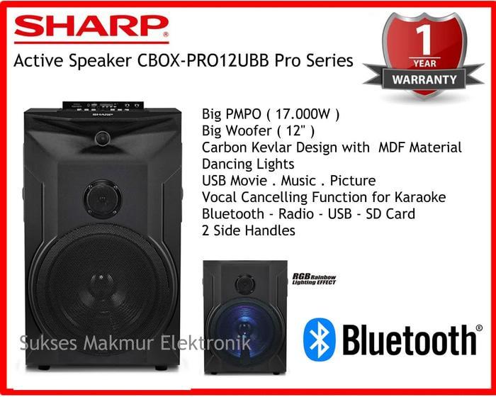Sharp Active Speaker CBOX-PRO12UBB Pro Series, Bluetooth. Radio. USB