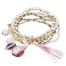 Diskon Produk Adjustable Fashion Tassel Beads Boho Hippie Stretch Berbentuk Bohemian Gelang Pink