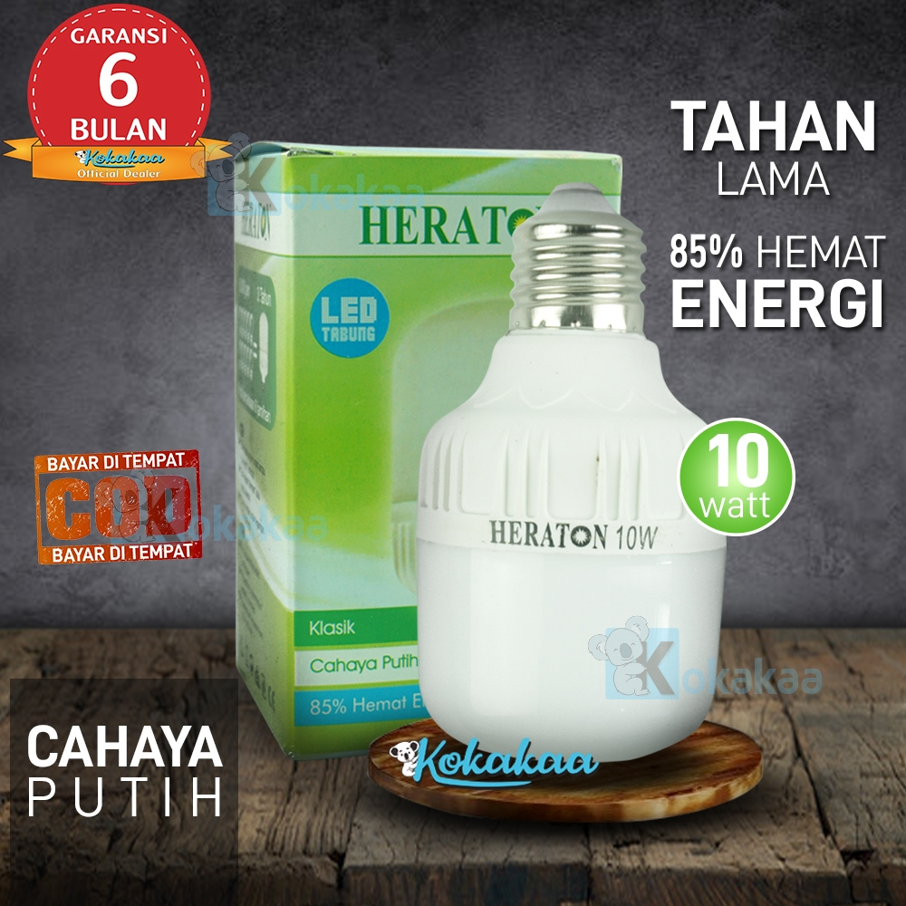 Heraton Lampu Bohlam LED Classic 10 Watt Hemat Energi 85% GARANSI 6 Bulan (Umur 8000 Jam) - Putih