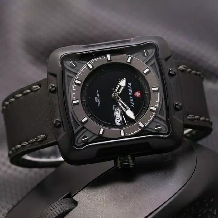BISA BAYAR DI TEMPAT (COD) Jam Tangan Pria SWISS ARMY ,Tali KuliT (Leather Strap) ,jam tangan model baru,jam tangan keren Limited edition (Hari & Tanggal Aktif)