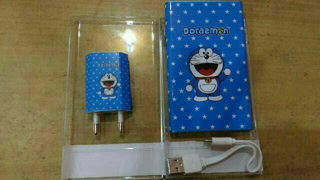Powerbank Paket Slim Karakter Doraemon + Batok Doraemon