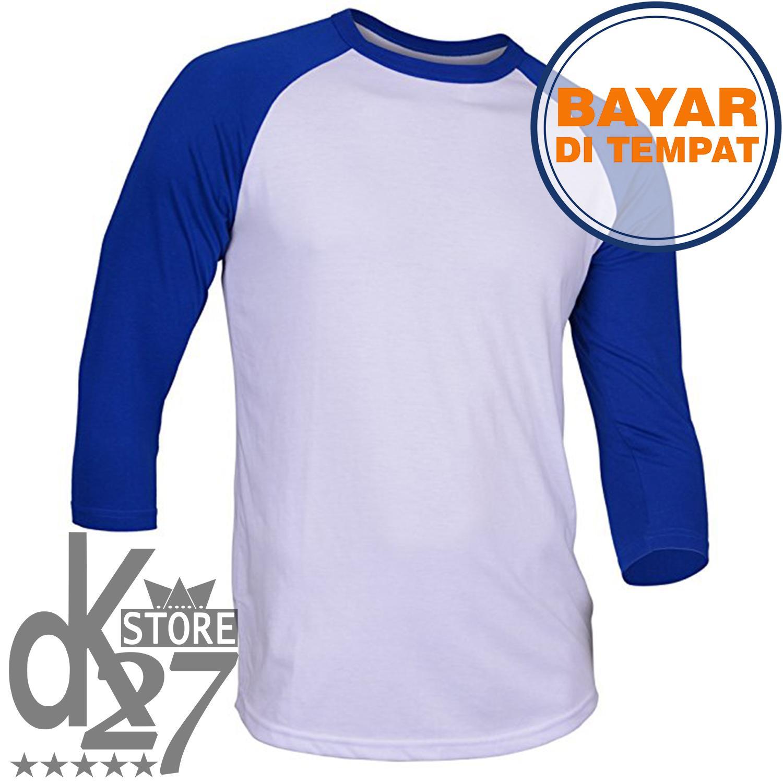 DK Kaos Pria Polos Raglan lengan 3/4 - Putih/Merah