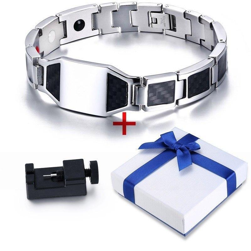 Vnox Health Energy Carbon Fiber Bracelets Bangles for Men Jewelry Stainless Steel Bio Magnetic pulseira masculina
