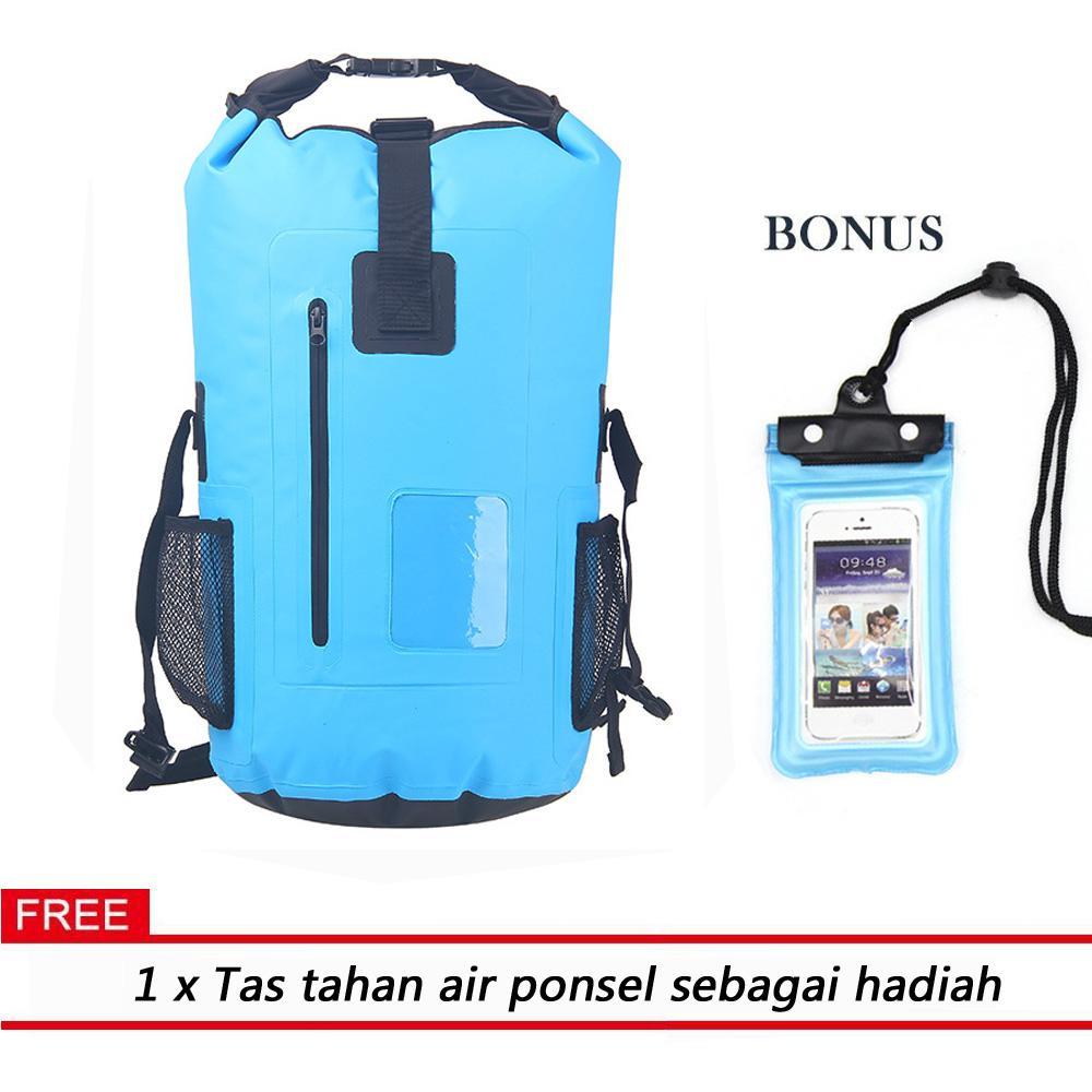 Sarki 30L Waterproof Backpack Dry Bag dengan Zipper Pocket dan Tali Bahu Empuk Besar Kering untuk
