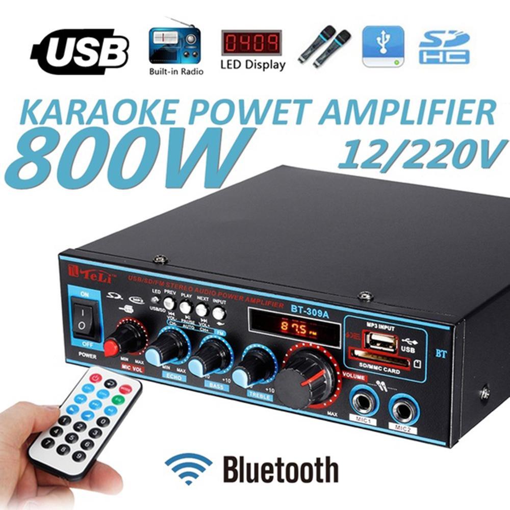 S_way BT-309A 12 V/220 V 2CH HI FI Layar LCD Audio Amplifier Daya Stereo  Bluetooth FM Radio Mobil Moto Rumah Super Speaker Kencang US Plug