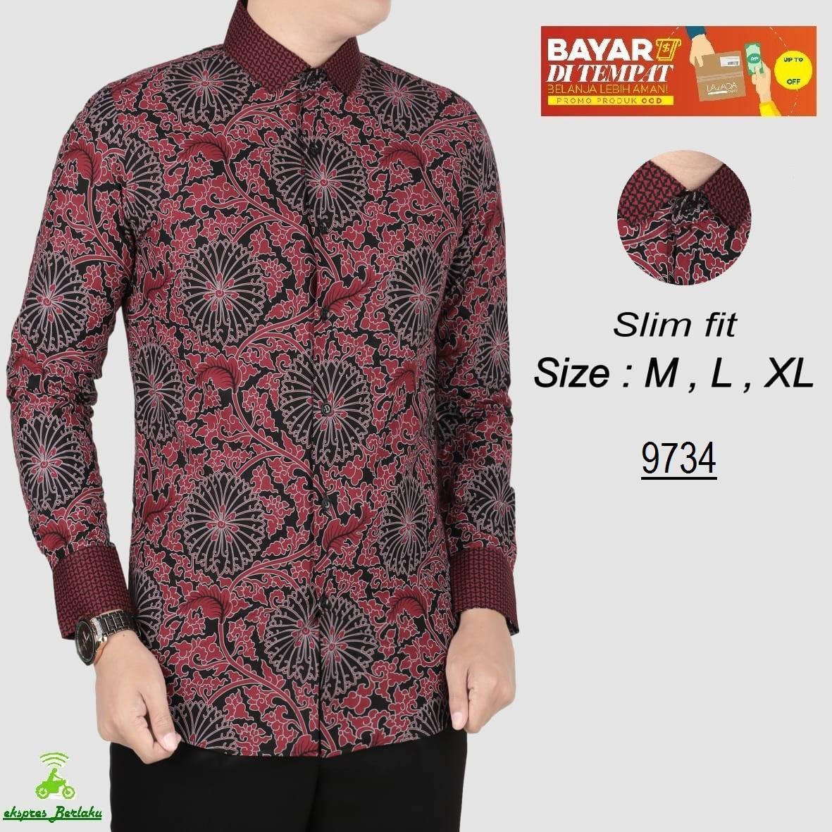 her+man Batik Pria Modern Kemeja Batik Pria Slim fit WW12Q
