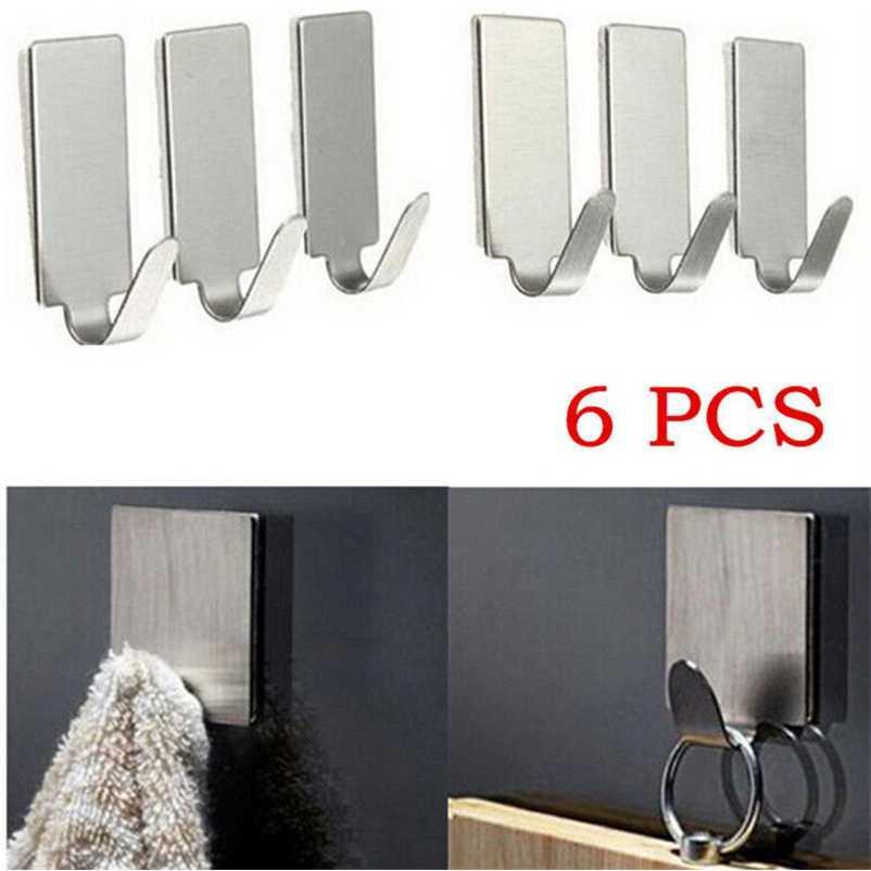 Gantungan Serba Guna Adhesive Stainless Steel 6 PCS Serbaguna Hanging Hook Door Strong Adhesive Sticker Penggantung