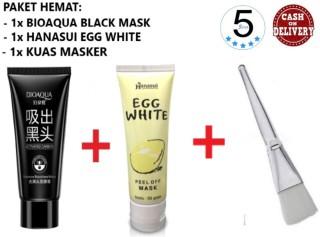 Bioaqua Masker Carbon Active Charcoal Black Mask + Hanasui Mask Egg White Peel Off Masker Putih Telur BPOM + Kuas Masker Wajah - 5 STAR thumbnail