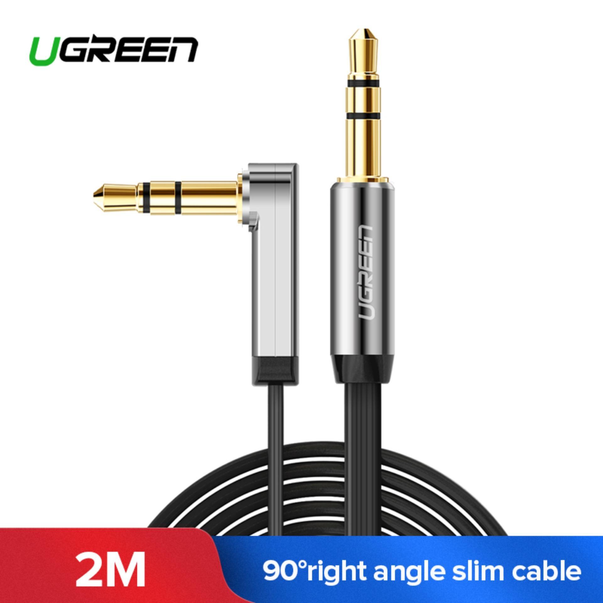 UGREEN 3.5mm Stereo Audio Tambahan Kabel 90 Derajat Sudut Siku (2 M) Hitam