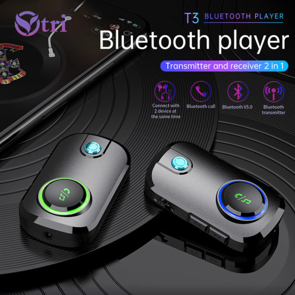 Ytri Bluetooth 5.0 Receiver 3.5mm AUX Jack Wireless Audio Adapter Stereo Handsfree Call & Mic Clip Bluetooth Car Kit for Earphone