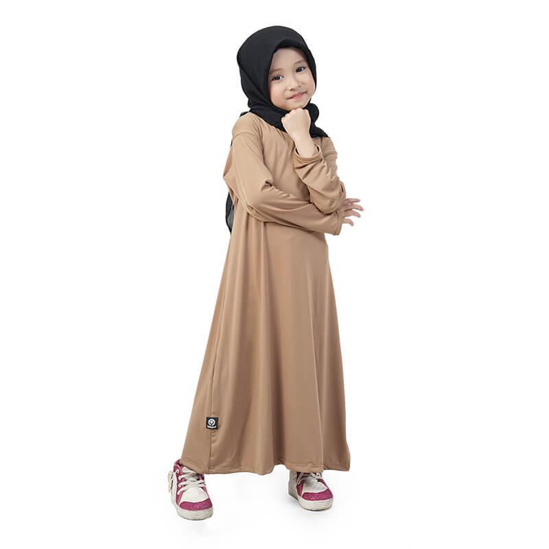 BAJUYULI - Baju Muslim Gamis Anak Perempuan Murah Polos Basic Jersey - Milo