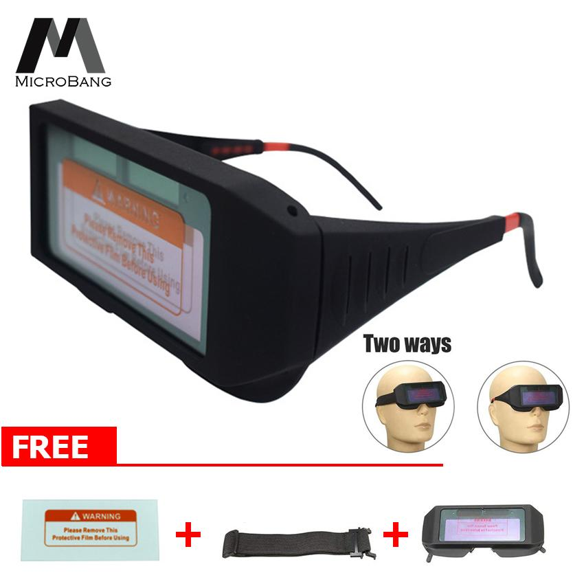 MicroBang Solar Powered Safety Goggles Welding Glasses Eye Protection Glasses Eyes Goggles Welder Glasses Auto Darkening Welding Eyewear with Free Gift