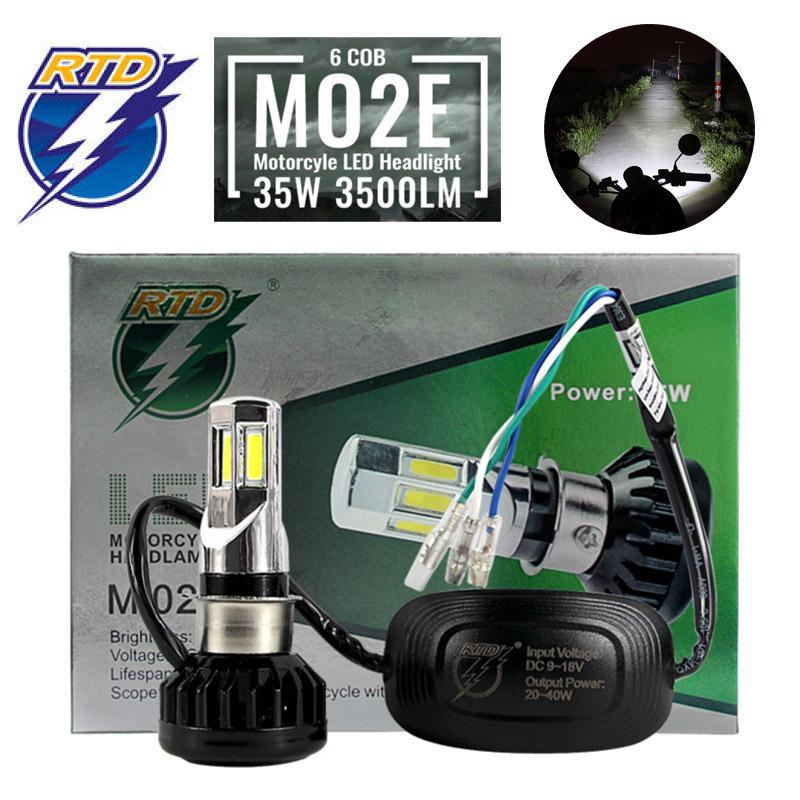 RTD R8 Lampu Utama Motor LED 6500K 6 sisi 35 Watt H4 H6 HS1 AC DC Headlamp HID XENON HiLo Original Super Terang TE RACING
