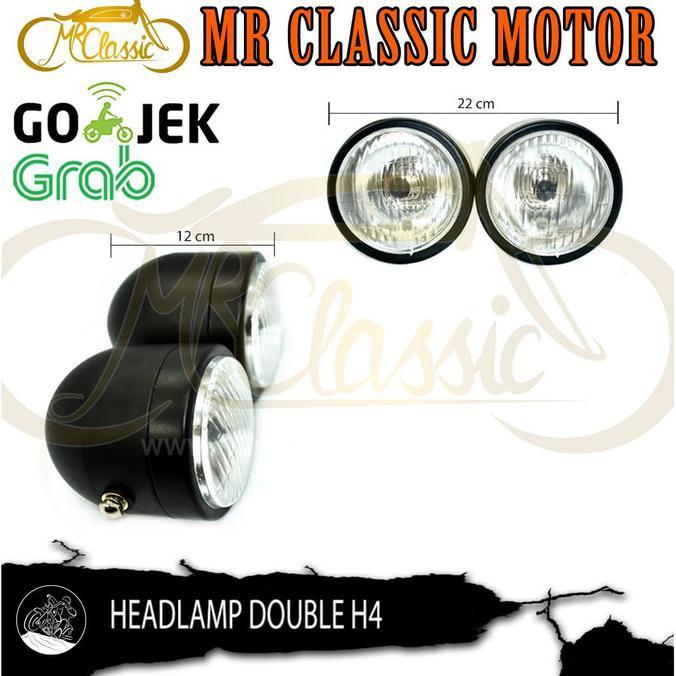 Head Lamp / Lampu Depan Custom Variasi Japs Bulat Double Hitam | Lampu Motor | Otomotif