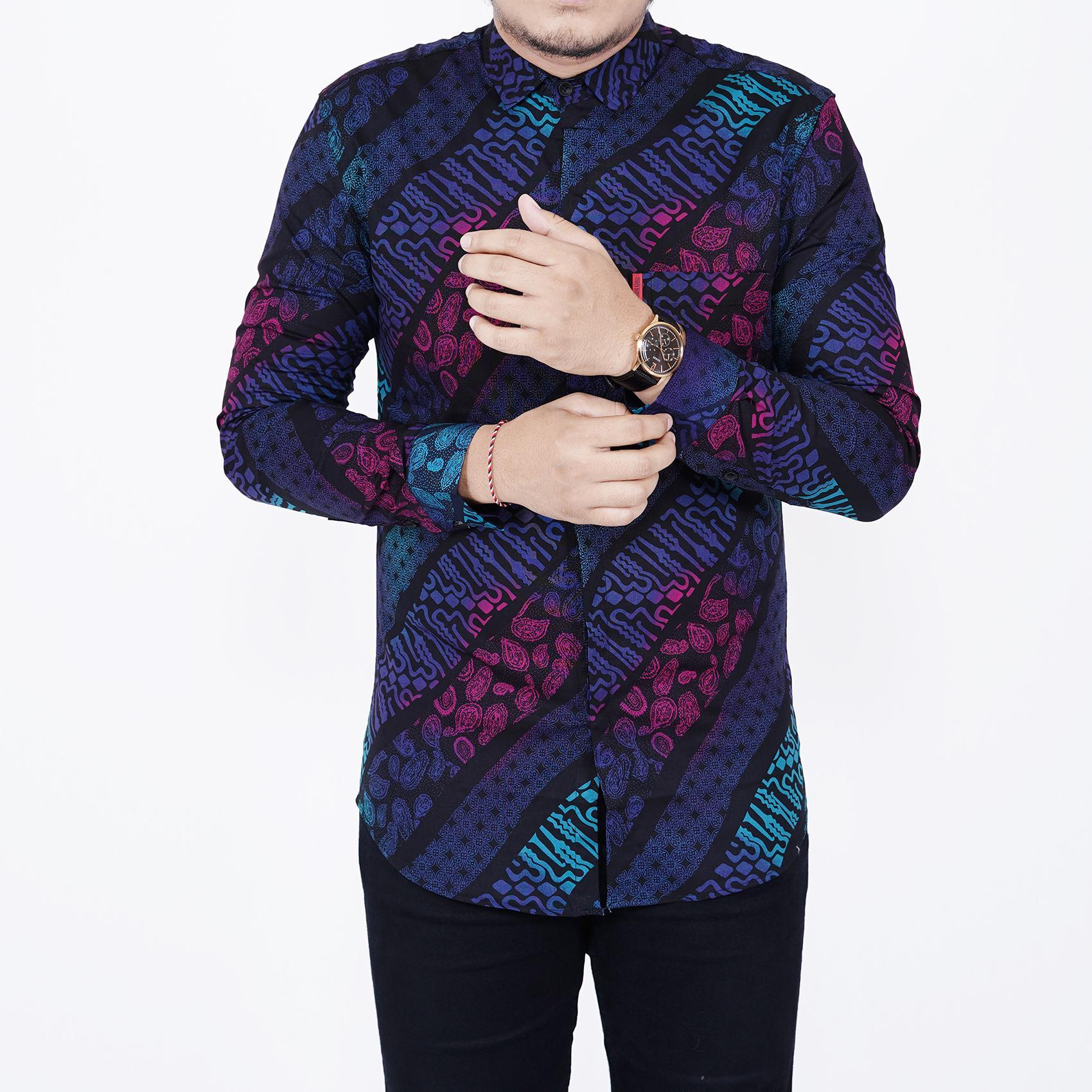 Zoeystore1 6538 Kemeja Batik Songket Pria Lengan Panjang Exclusive Baju  Kemeja Batik Cowok Kerja Kantoran Formal 19140c38f4