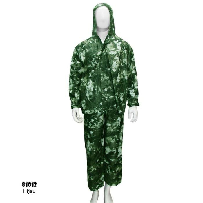 Jas Hujan Setelan Bahan Parasut Motif Army 81012 - Hijau, L