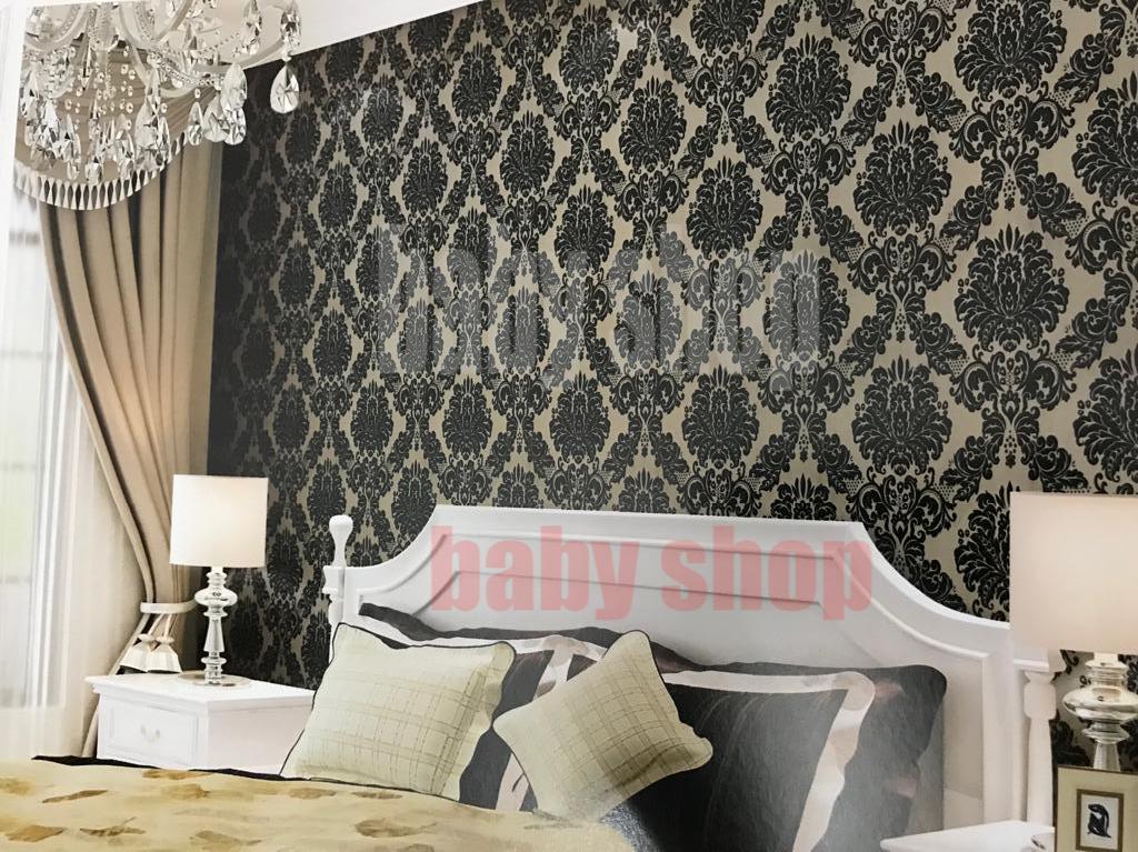 Wallpaper Stiker Dinding Motif Dan Karakter Premium Quality Size 45cm X 10M Batik Hitam Dasar Cokla