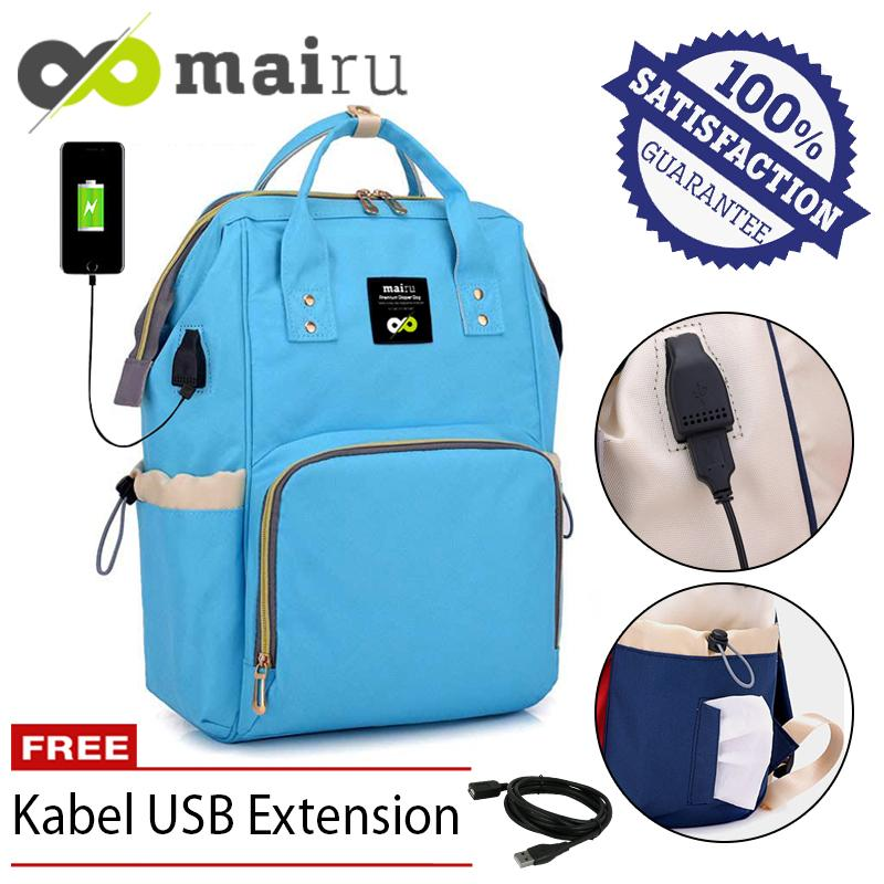 Mairu 2209 Tas Ransel Perlengkapan Popok Bayi Wanita Travel Baby Bag Import Backpack Korean Fashion - Diaper Bag - With USB Port Support