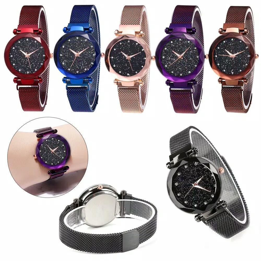 jaya shop jam tangan wanita quartz motif langit stars strap stainless steel magnet BISA BAYAR DITEMPAT