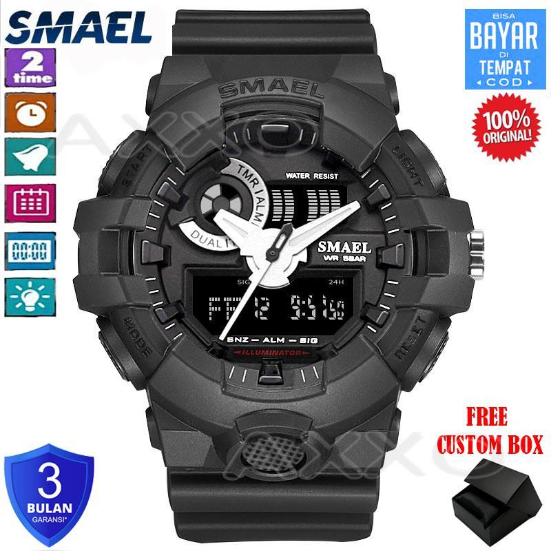 SMAEL Jam Tangan Pria Anti Air Digital LED Quartz Dual Display Jam Tangan  Digital Shock Resist 6c28b5b624