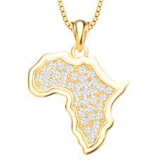 Afrika Peta Perhiasan Liontin Kristal 18 K Berlapis Emas Putih Cincin Liontin P30135