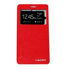Aimi Leather Case Sarung Untuk Lenovo A1000 Flipshell/Flipcover - Merah