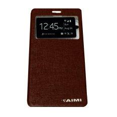 Aimi Leather Case Sarung Untuk  Samsung Galaxy J1  Mini Flipshell/Flipcover - Coklat