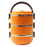 Aiueo Lunch Box Stainless Steel Rantang 3 Susun Orange Aiueo Diskon 50