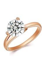 Paduan 18 K Emas Berlapis Zircon Kristal Pernikahan Cincin Emas