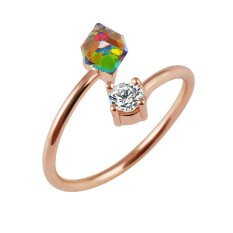 Alloy Gold Dilapisi Round Crystal Geometri Zircon Cincin (Emas)