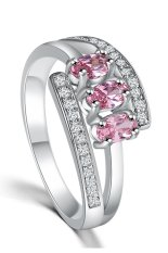 Paduan Plating Platinum Batu Double Crystal Ring Silver Pink