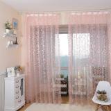 Harga Gaya Amerika Jacquard Floral Design Window Curtain Sheer Untuk Kamar Tidur Pink Yang Murah Dan Bagus