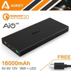 Jual Aukey Portable Charger Power Bank 2 Port 2 4A 16000Mah With Qualcomm Quick Charge 2 Aipower Pb T3 Black Di Bawah Harga