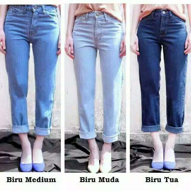 Boyfriend Plain Celana Jeans Wanita4 By Cska Fashion.