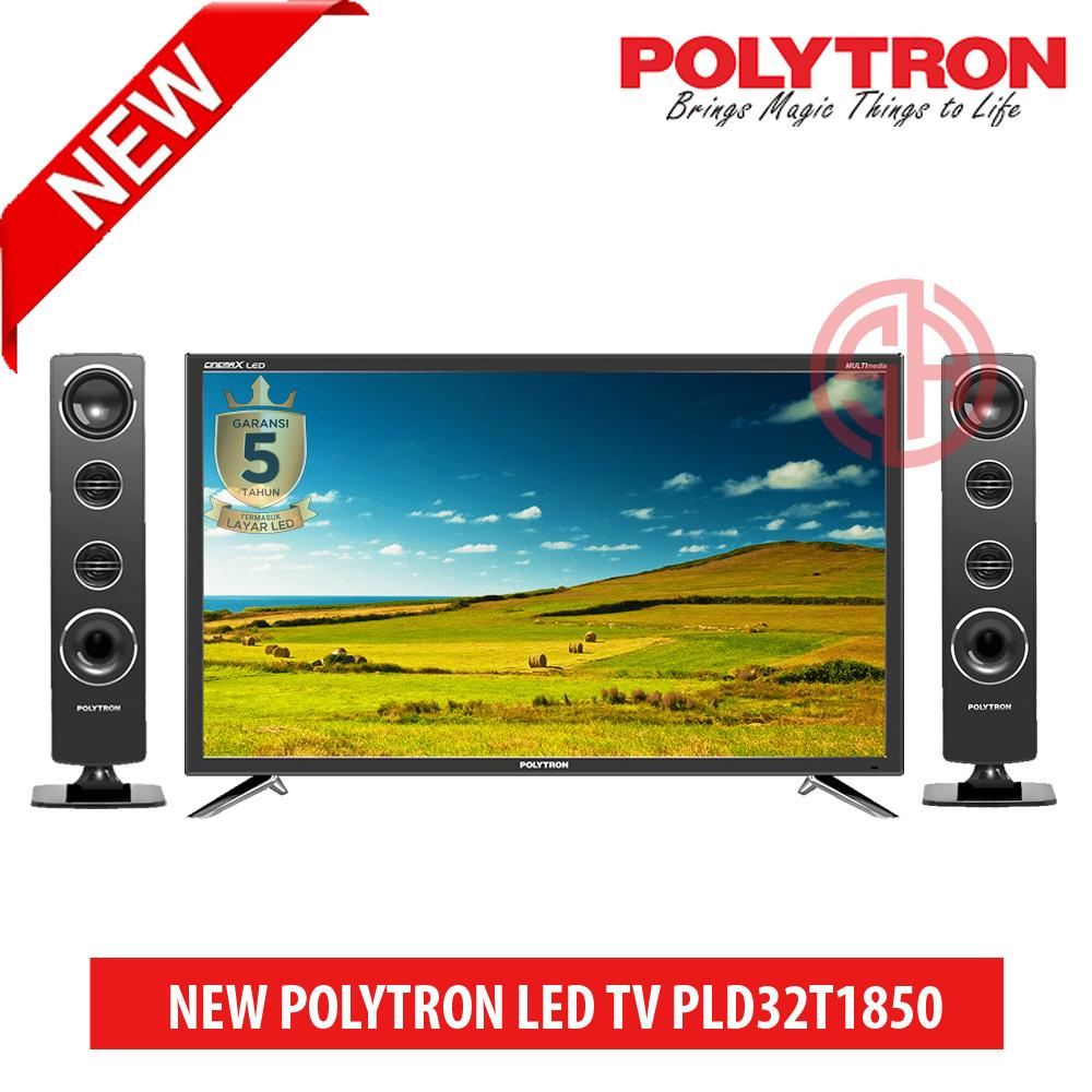 POLYTRON LED TV 32 Inch HD - PLD32T1850 [Speaker Tower] FREE PACKING KAYU