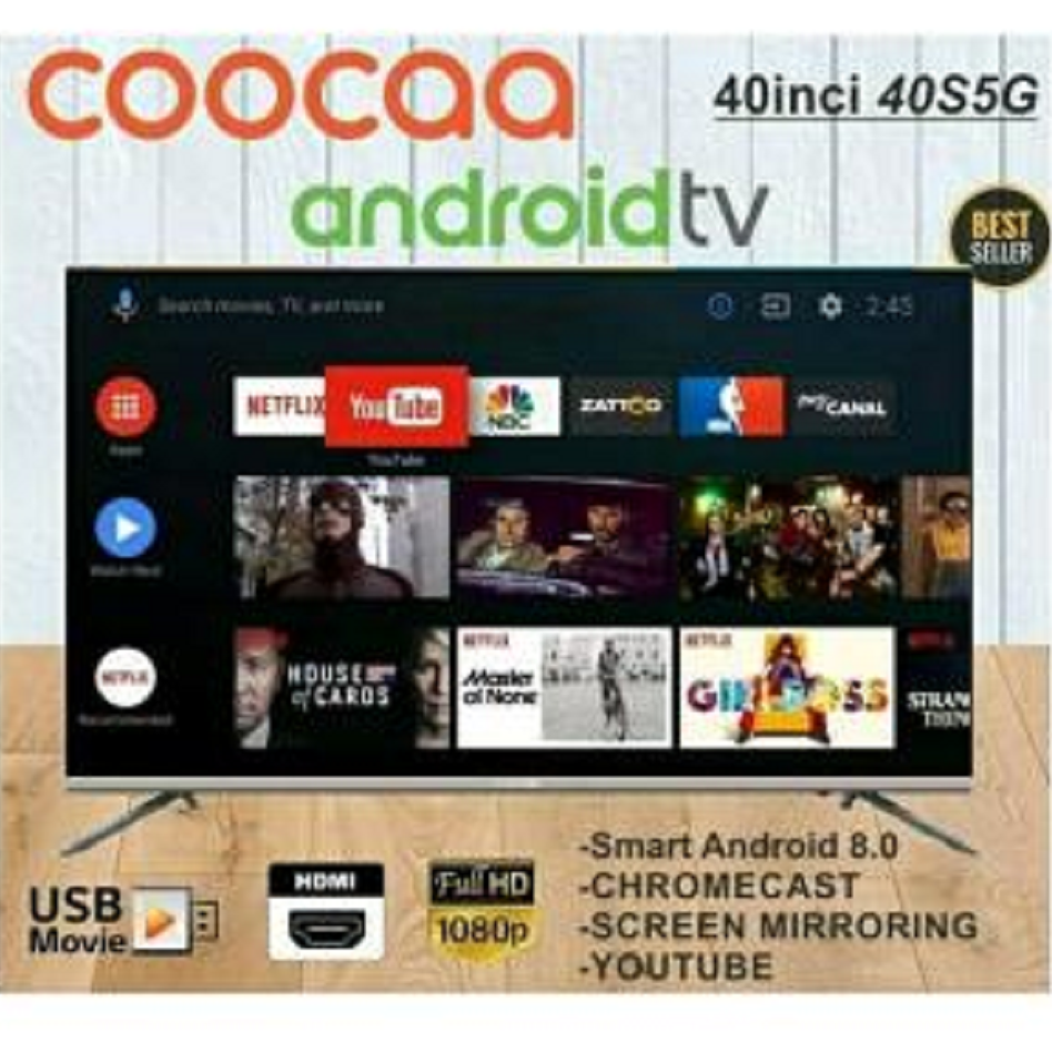 COOCAA Smart LED TV 40 inch Android 9.0 -Infinity View- Full HD- Slim- Wifi-Netflix-Youtube-Google Certified (Model 40S6G)