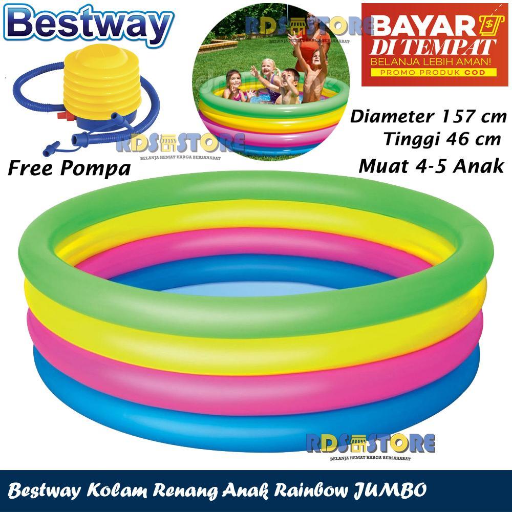 Bestway Kolam Renang Jumbo Space Ship Anak Pelangi Diameter 1 5 M Pompa Injak