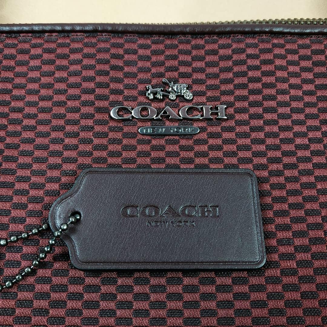 Tas Branded - Original Coach Ava Tote Jaquard Oxblood b2e5d8a575