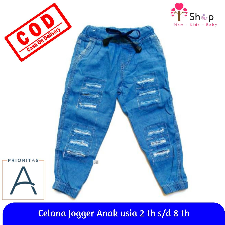 i-shop Celana Jogger Jeans Long Ripped Dengan Aksen Sobek-sobek Untuk Anak  Laki a4df8eec2d