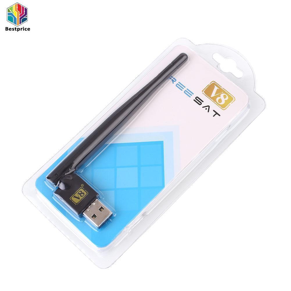 Bestprice-Mini Portabel USB 2.0 Antena Wifi Dongle untuk Penerima Televisi Satelit V8-Internasional