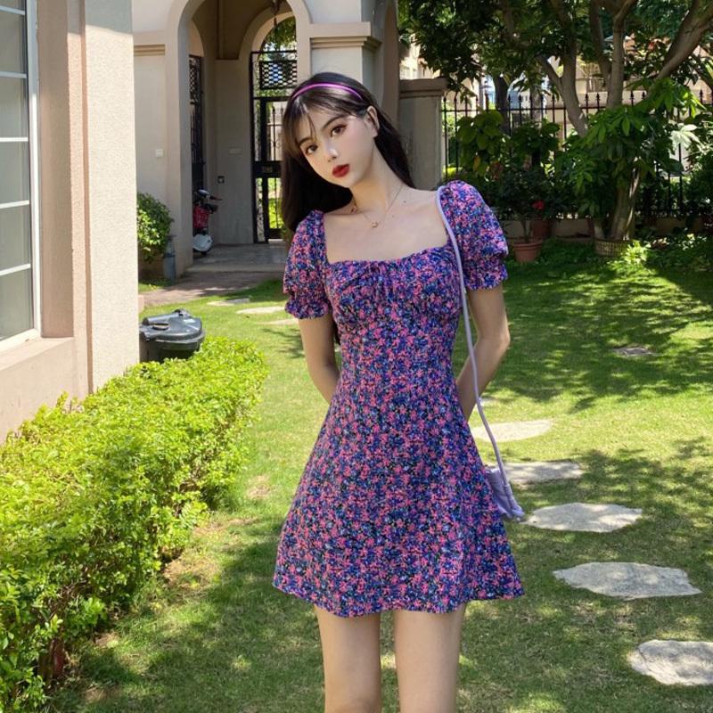 Kiểu Pháp Nhỏ Tôn Dáng Hoa Nhỏ Cổ Áo Tay Bồng Đầm Phong Cách Retro Tím Váy Nữ Mùa Hè 2020 Mẫu Mới