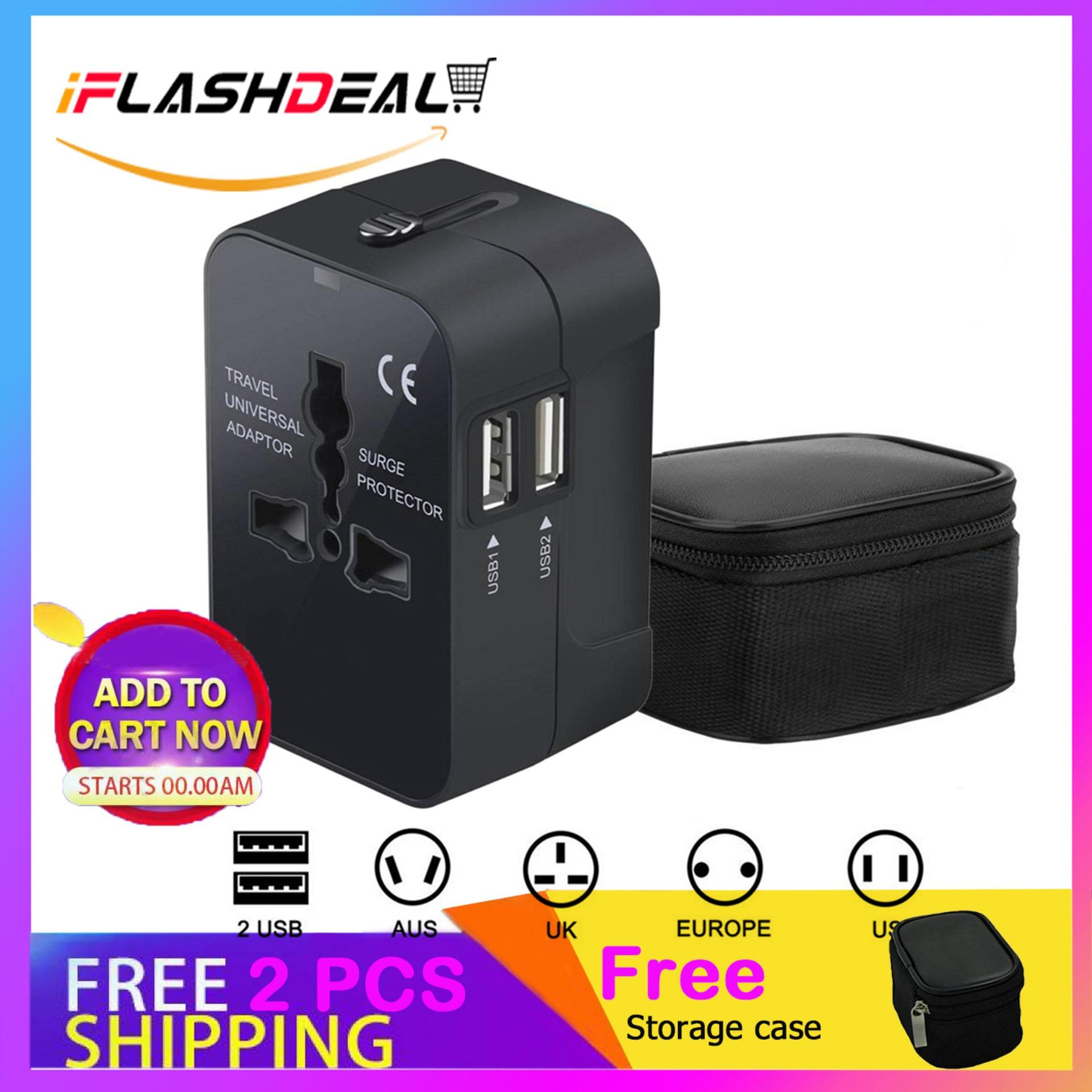 Iflashdeal Universal International Travel Adapter / Power Plug / Charger In All In One - Black By Iflashdeal.