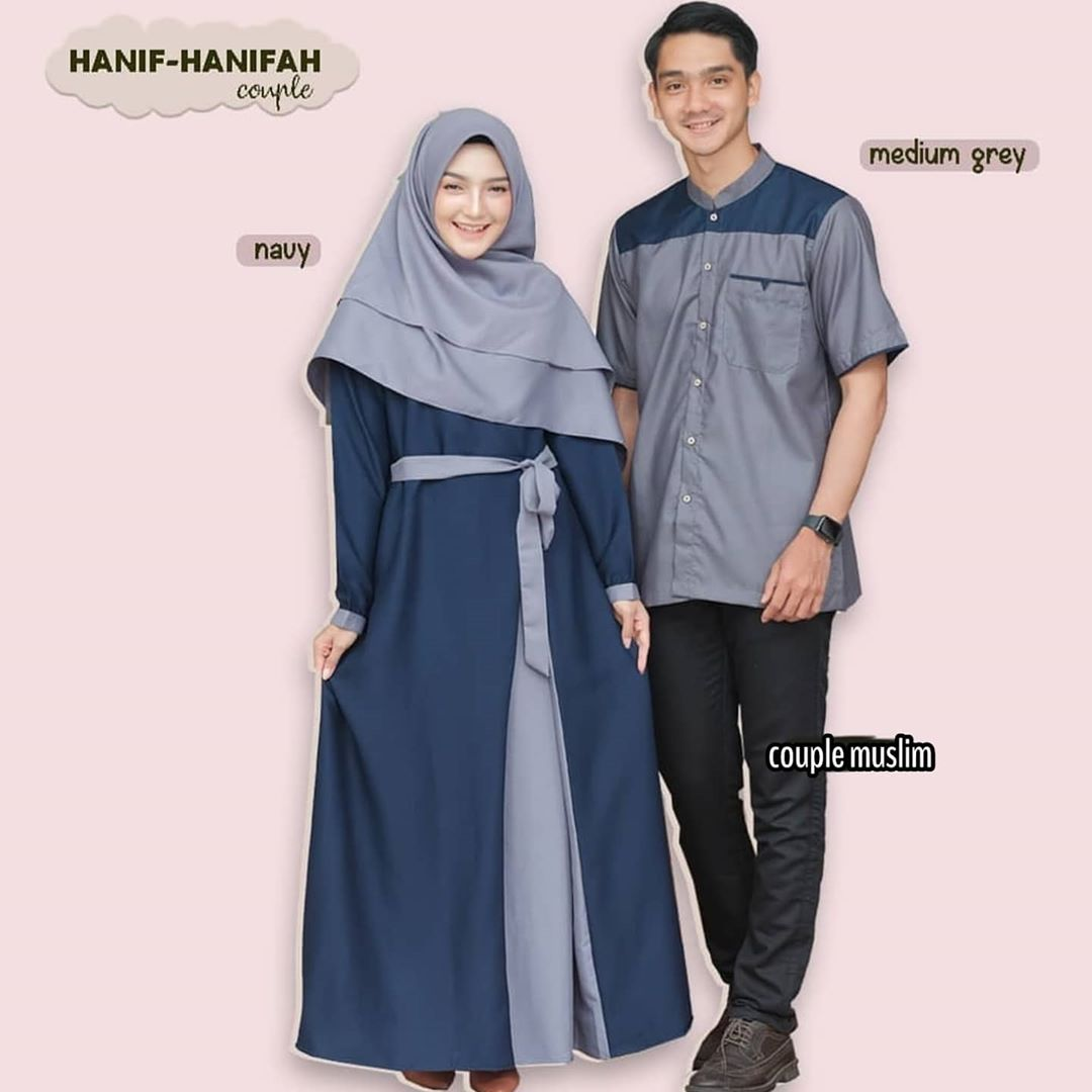 Hanifah Couple / Baju Couple Kondangan / Baju Gamis Terbaru 9 / Gamis  Wanita / Baju Gamis Couple Pasangan / Baju Couple Pasangan Muslim / Kemeja