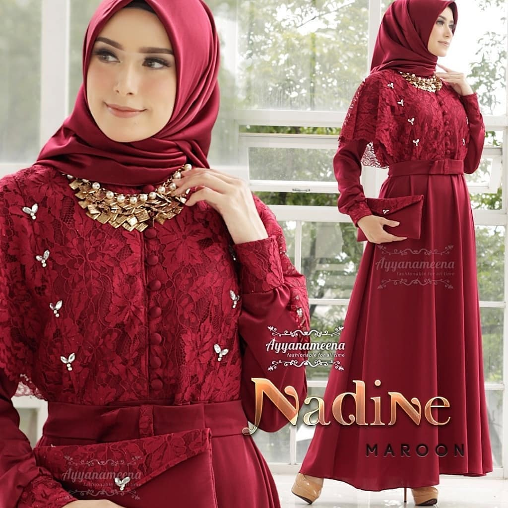 Nadine Long Dress Brukat / Baju Gamis Wanita Terbaru 9 / Gamis Remaja  Modern / Gamis Pesta Mewah / Gamis Kondangan / Busana Muslim Terbaru