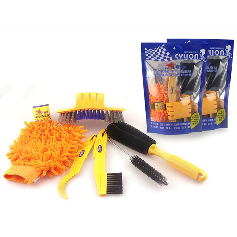6pcs/set Bicycle Chain Cleaner Cycling Tire Brushes Portable Mountain Road Bike Cleaning Tool Set Bicycle Cleaning Gloves Malaysia