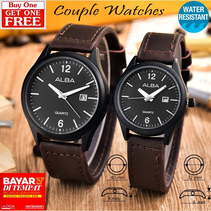 Jam Tangan Couple - Pria dan Wanita - AB-8076GL-BB-Dark Brown Leather Band